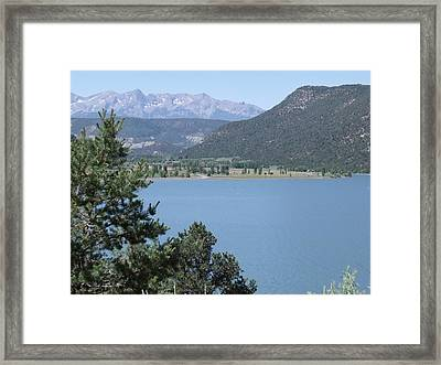 Mountain Lake Framed Print by Lee Manning