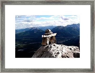Mountain Top Inukshuk Framed Print by Jonathan Lagace