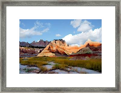 Mountains And Sky In Badlands National Park Framed Print by Elaine Plesser