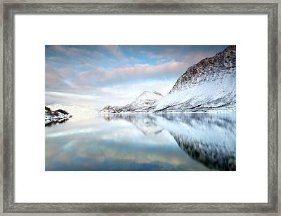 Mountains In Fjord Framed Print by Sandra Kreuzinger