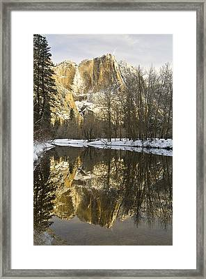 Mountains Reflecting In Merced River In Framed Print by Robert Brown