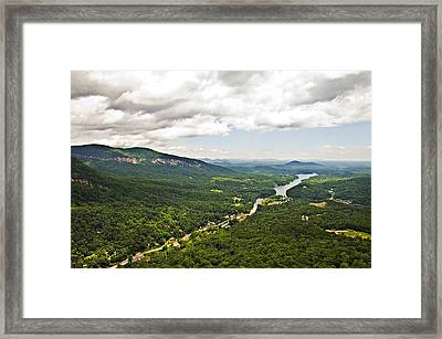 Mountains With Lake In The Valley Framed Print by Susan Leggett