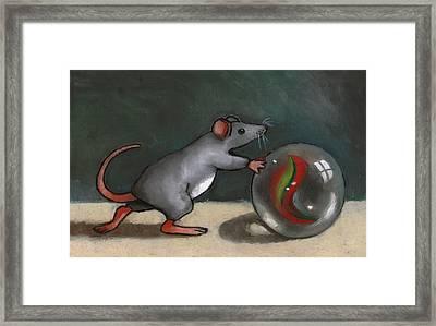 Mouse Rolling Marble Framed Print by Joyce Geleynse