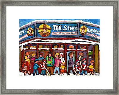 Mr Steer Restaurant Montreal Framed Print by Carole Spandau