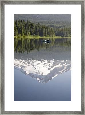 Mt. Hood Reflecting In Trillium Lake Mt Framed Print by Craig Tuttle