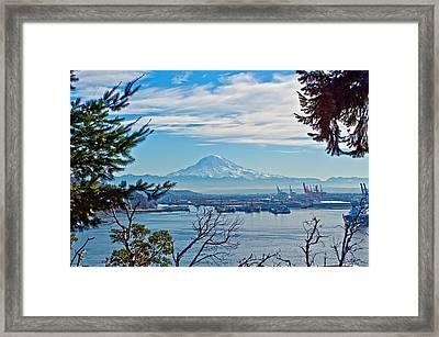 Mt. Rainier Over Tide Flats Framed Print by Tikvah's Hope
