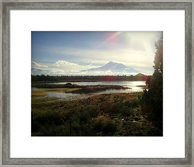 Mt Shasta Sunburst And Reflections Framed Print by Cindy Wright