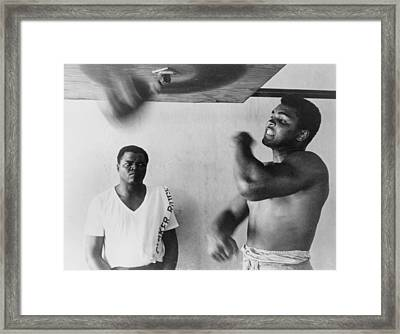 Muhammad Ali, Works Out On Light Bag Framed Print by Everett