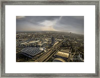 Munich From Above - Vintage Part Framed Print by Hannes Cmarits