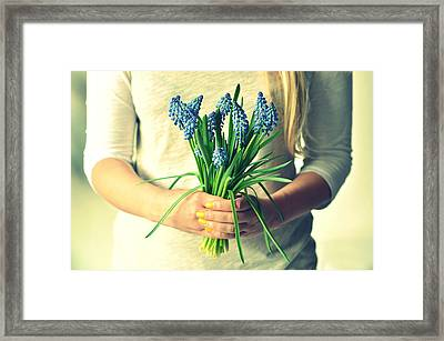 Muscari In Womans Hands Framed Print by Photo by Ira Heuvelman-Dobrolyubova