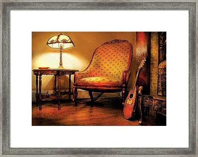 Music - String - The Chair And The Lute Framed Print by Mike Savad