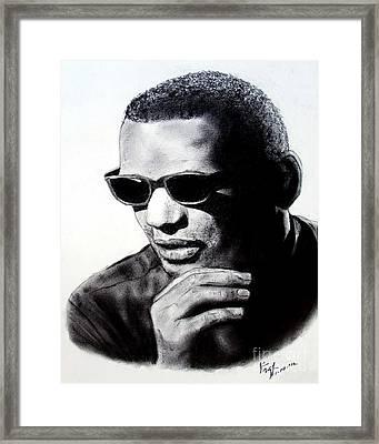 Music Legend Ray Charles Framed Print by Jim Fitzpatrick