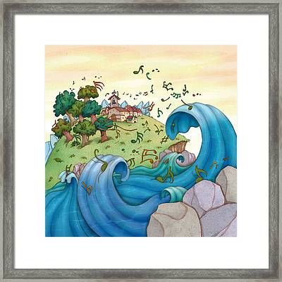 Musical Coast Town Framed Print by Autogiro Illustration