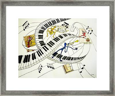 Musical Happy People With Wine Framed Print by Glenn Calloway