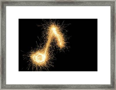 Musical Note Drawn With A Sparkler Framed Print by Martin Diebel