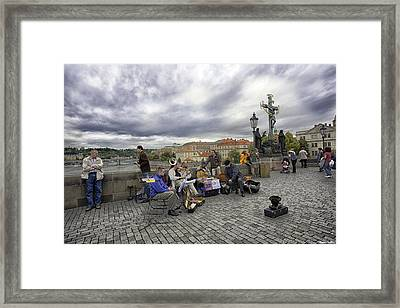 Musicians On The Charles Bridge - Prague Framed Print by Madeline Ellis