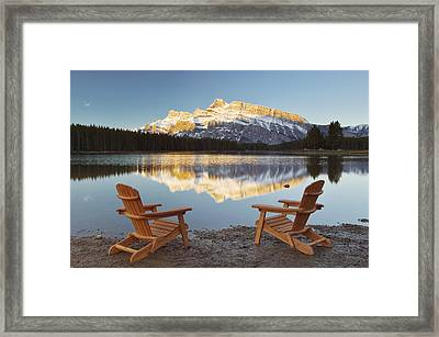 Muskoka Chairs In Front Of Mt Rundle Framed Print by Darwin Wiggett