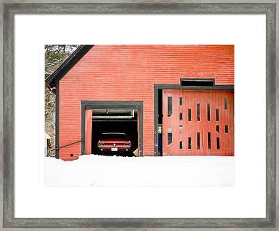 Mustang Car Barn Framed Print by Edward Fielding