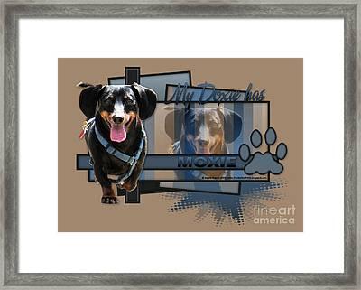 My Doxie Has Moxie - Dachshund Framed Print by Renae Laughner