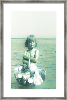 My Elephant - My Ocean - My World Framed Print by Li   van Saathoff