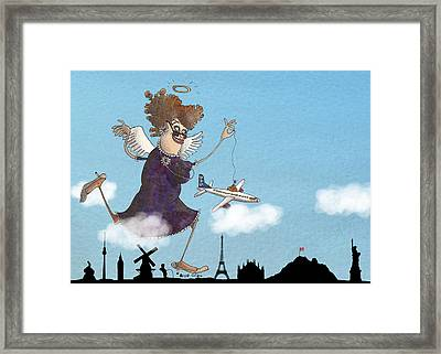 My Grandma Always Looks After Me Whenever I Travel The World Framed Print by Anja Gram