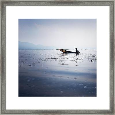 Myanmar Fisherman Framed Print by Nina Papiorek