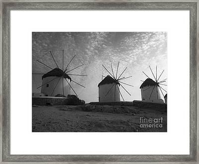Mykonos Windmills Framed Print by Leslie Leda