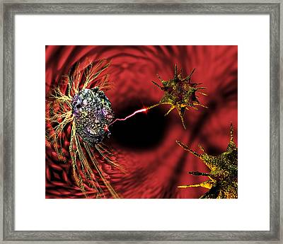 Nanorobots Fighting Cancer Framed Print by Victor Habbick Visions
