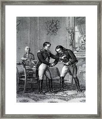 Napoleon Greets Larrey, 19th Century Framed Print by Science Source
