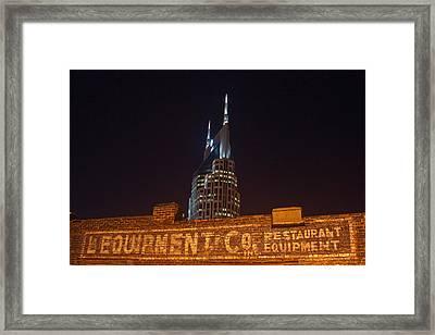 Nashville Downtown Night Scene Framed Print by Douglas Barnett