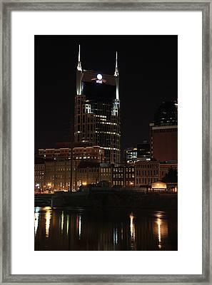 Nashville Skyline At Night Framed Print by Sam Amato