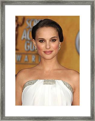 Natalie Portman Wearing An Azzaro Gown Framed Print by Everett