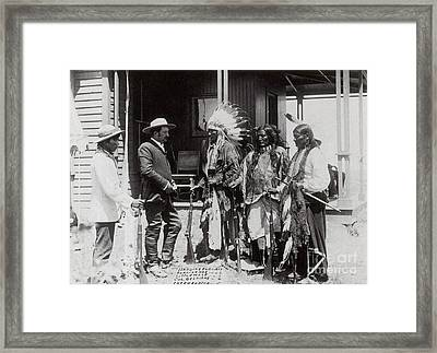 Native Americans Talking To American Framed Print by Photo Researchers