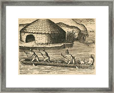 Native Americans Transporting Crops Framed Print by Photo Researchers