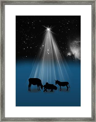 Nativity And Christmas Star Framed Print by Delores Knowles