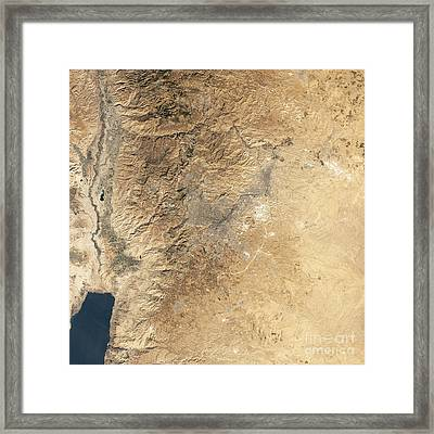 Natural-color Satellite View Of Amman Framed Print by Stocktrek Images