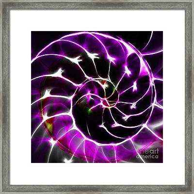 Nautilus Shell Ying And Yang - Electric - V1 - Violet Framed Print by Wingsdomain Art and Photography