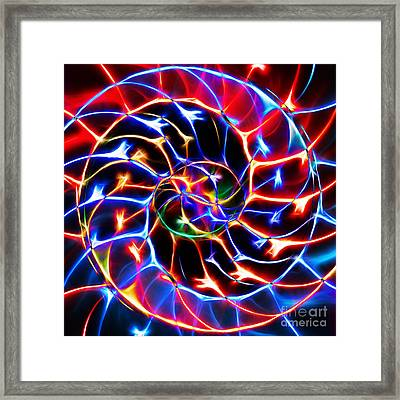 Nautilus Shell Ying And Yang - Electric - V2 - Blue Framed Print by Wingsdomain Art and Photography