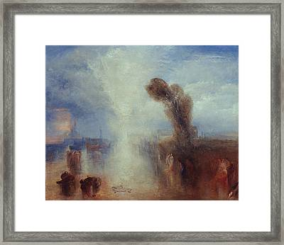 Neapolitan Fisher-girls Surprised Bathing By Moonlight Framed Print by Joseph Mallord William Turner
