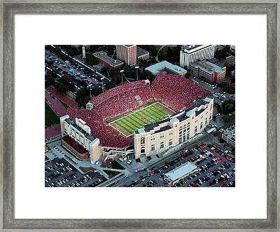 Nebraska Aerial View Of Memorial Stadium  Framed Print by PRANGE Aerial Photography