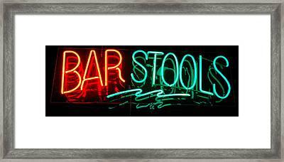 Neon Bar Stools Framed Print by Steven Milner
