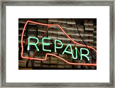 Neon Shoe Repair Sign Framed Print by Frederick Bass