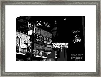 Neon Sign On Bourbon Street Corner French Quarter New Orleans Black And White Cutout Digital Art Framed Print by Shawn O'Brien