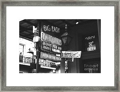Neon Sign On Bourbon Street Corner French Quarter New Orleans Black And White Film Grain Digital Art Framed Print by Shawn O'Brien