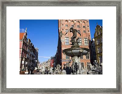 Neptune Fountain In Gdansk Framed Print by Artur Bogacki