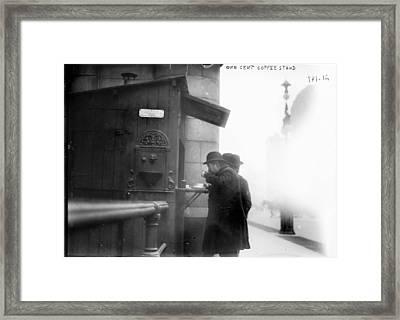 New York City, Man Drinking Coffee Framed Print by Everett