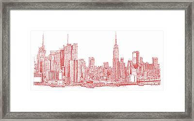 New York City Red Ink Framed Print by Building  Art