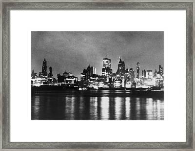 New York City Skyline, After Blackout Framed Print by Everett