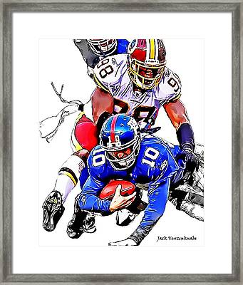 New York Giants Eli Manning -san Francisco 49ers Parys Haralson Framed Print by Jack K