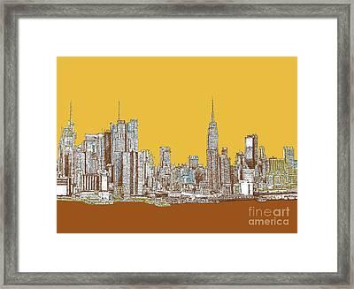 New York Mustard Sepia Framed Print by Building  Art